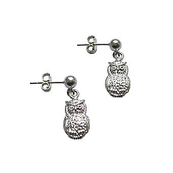 Ladies earrings 925 Silver Owl 2 cm