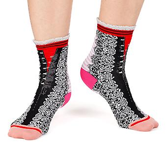 Lace pattern women's crazy floral crew socks in black | By Fil de Jour