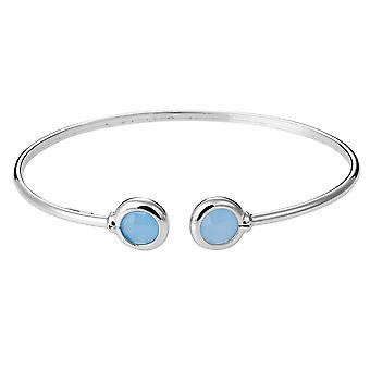 Orphelia 925 sølv armbånd Twist mælkeagtig hav blå glas ZA-7403