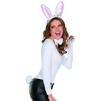 Bunny set 3pcs. Diadema con orejas de felpa vuela conejo de conejito de carnaval accesorios de Stummelschwänzchen