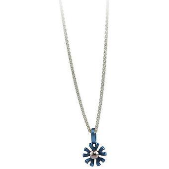 TI2 titanio piccolo Ten petalo fiore pendente - blu cielo