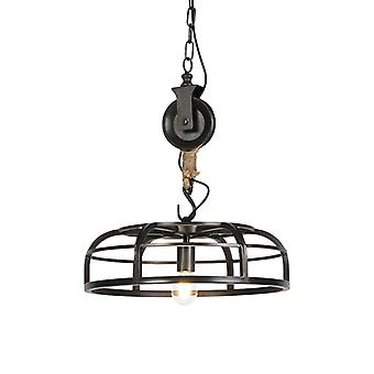 QAZQA Industrial Round Pendant Lamp Burned Steel 47cm - Camelot