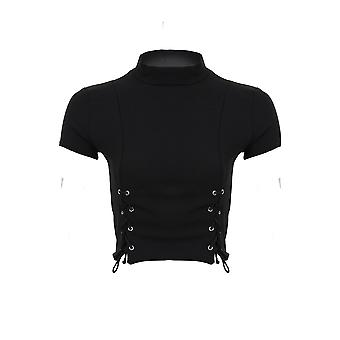 Ladies Eyelet Lace Up Front Cap Sleeve High Neck Smart Crop Short Lined Top