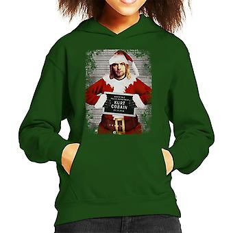 Christmas Mugshot Kurt Cobain Kid's Hooded Sweatshirt