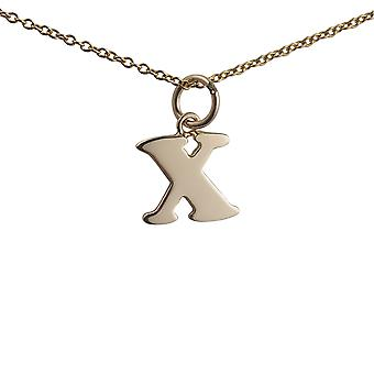 9ct Gold 11x11mm plain Initial X Pendant with a cable Chain 16 inches Only Suitable for Children