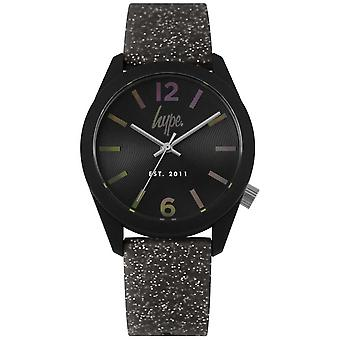 Hype   Womens Black Glitter Silicone Strap   Black Dial HYL004B Watch