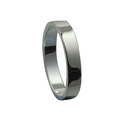 9ct White Gold 4mm plain Flat Wedding Ring