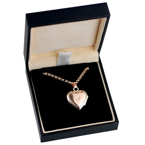 9ct Rose Gold 17x17mm engraved heart shaped Locket with belcher Chain 16 inches Only Suitable for Children