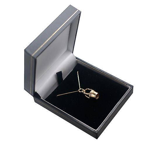 9ct Gold 28x10mm Champagne Bucket Pendant with a curb Chain 16 inches Only Suitable for Children