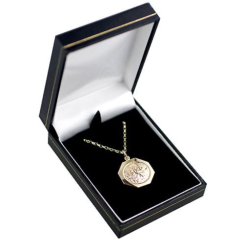 9ct Gold 21x21mm hexagonal St Christopher Pendant with belcher Chain 16 inches Only Suitable for Children