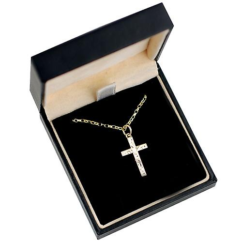 9ct Gold 20x13mm hand engraved solid block Cross with belcher Chain 16 inches Only Suitable for Children
