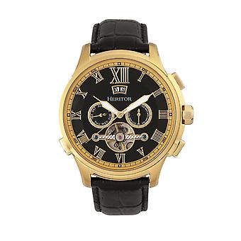 Heritor Automatic Hudson Semi-Skeleton Leather-Band Watch w/Day/Date - Black/Gold