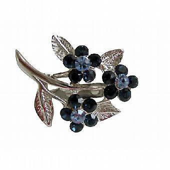 Safir krystaller blomst brosje med kubikk Zricon på stammen & blad