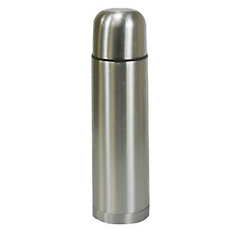 Kingfisher Stainless Steel Metal Vacuum Flask Push Button Open Close Stopper Screw on 2 Cup Lid Capacity 0.5L (500ml)