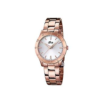 Lotus women's quartz watch with pink gold-plated stainless steel band analog display 18141/1