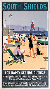 South Shields (old rail ad.) steel fridge magnet