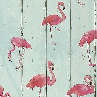 Flamingos Wallpaper Animal Print Washable Textured Vinyl Pink Aqua Teal Rasch