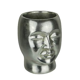 Resina plata metálico cabeza decorativa maceta pequeña