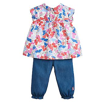 Joules Baby Brenna Woven Top And Trouser Set White Floral