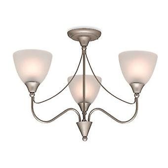 Firstlight-3 ljus Flush taklampa satin stål, opal glas-8039SS