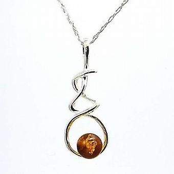 Toc Sterling Silver Amber Swirl Pendant on 18 Inch Chain