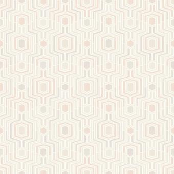 Pink 3D geométrico Wallpaper relieve taupe gris blanco metálico Grandeco meso