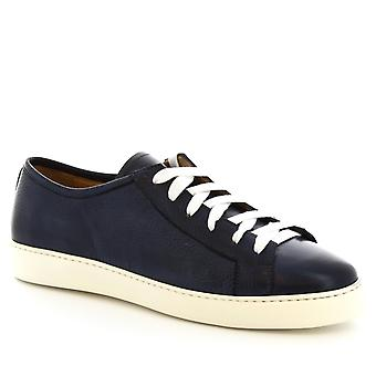 Leonardo Shoes Men's handmade lace-up low top sneakers shoes in denim leather