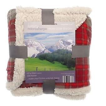 Tartan Check Sherpa Fleece Reversible Blanket: Red