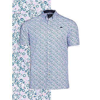 Short Sleeve Micro Floral Print Shirt - Pink