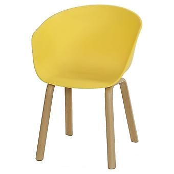 Fusion Living Eiffel Inspired Yellow Plastic Armchair With Light Wood Legs