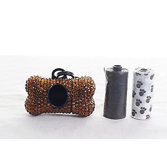Brown Crystal Strass Knochen geformt Waste Bag Dispenser