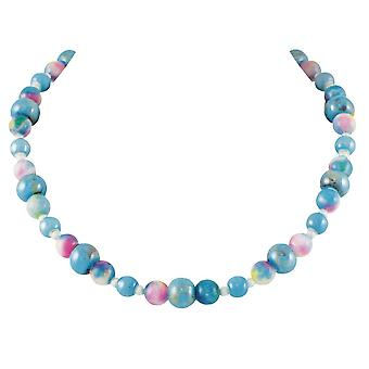 Eternal Collection Galactica Blue Multi Jade Beaded Necklace