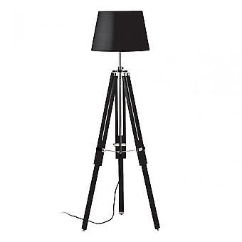 Premier Home Jasper Floor Lamp, Chromed Fabric, Wood, Black
