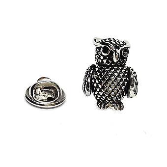 Owl Antique Finish English Pewter Lapel Pin Badge