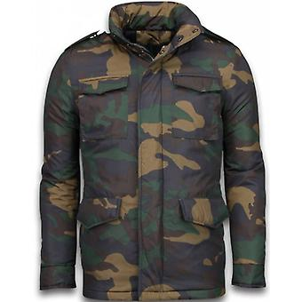 Winter coats-Mens winter coat short-Camouflage jacket-Green