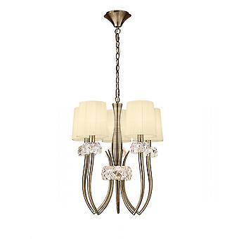 Mantra Loewe Slim Pendant 5 Light E27, Antique Brass With Cream Shades
