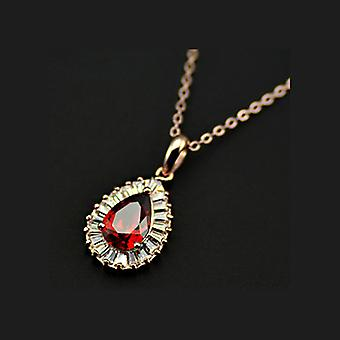 18K Gold Plated Cubic Zirconia Ruby Stone Pendant