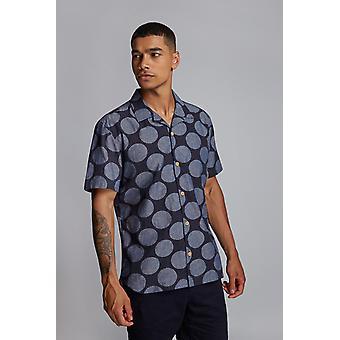 Hymn Printed Spot Resort Shirt Indigo
