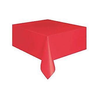 Helle rote Kunststoff-Tischdecke