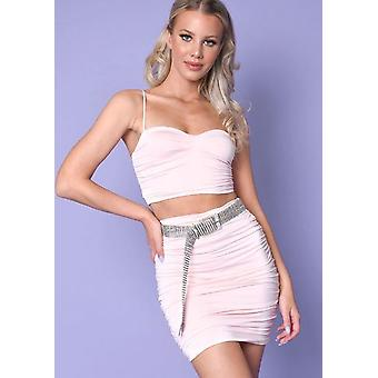 Ruched Skinny Straps Slinky Crop Top And Skirt Co Ord Set Pink