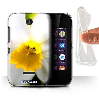 STUFF4 Gel/TPU Case/Cover for Nokia Asha 230/White Flower/Floral Garden Flowers