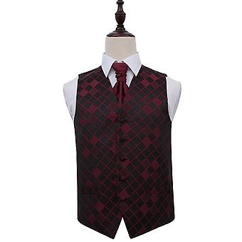 Diamant donkerrood bruiloft gilet & Cravat Set