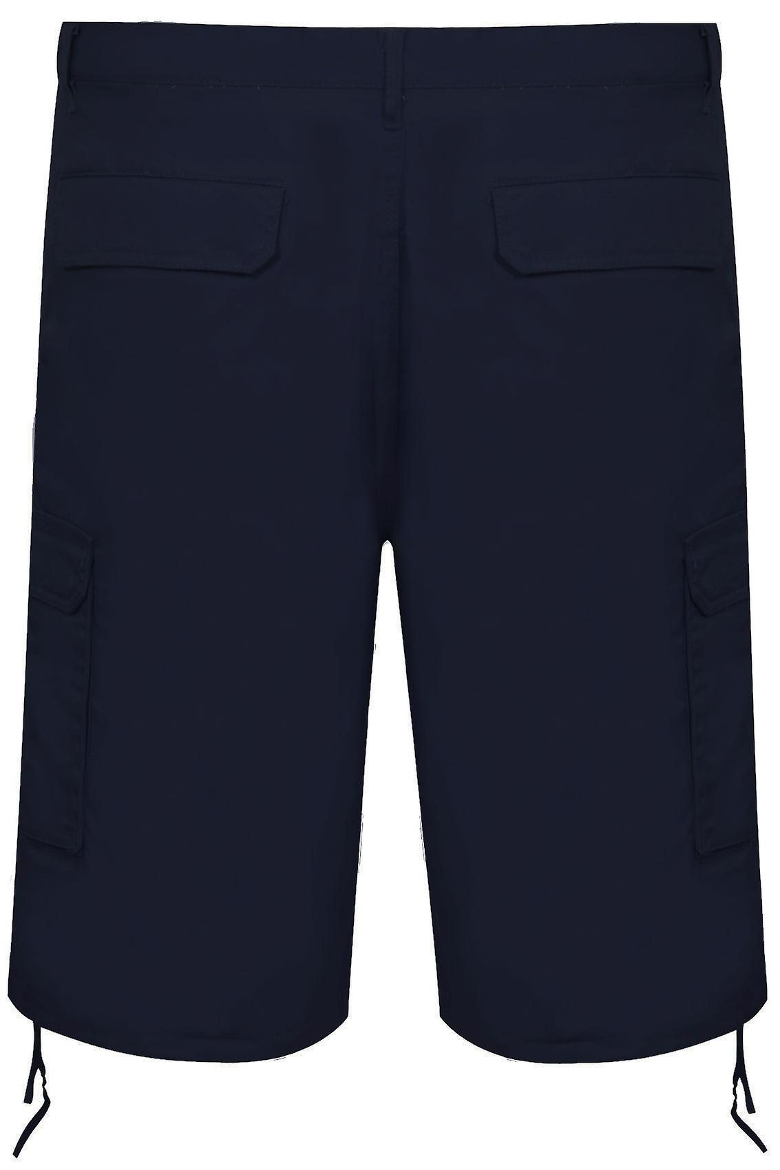 NOIZ Navy Cotton Cargo Shorts With Pockets