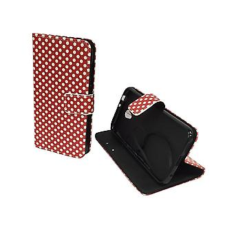 Mobile phone case pochette pour mobile Vodafone smart 7 premier polka dot rouge