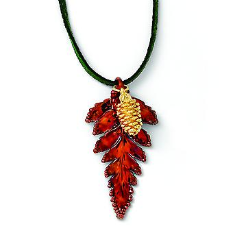 Iridescent Copper Fern Leaf/24k Gold Dipped Pine Cone Necklace - 20 Inch