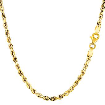 14k Yellow Gold Solid Diamond Cut Royal Rope Chain Necklace, 2.75mm