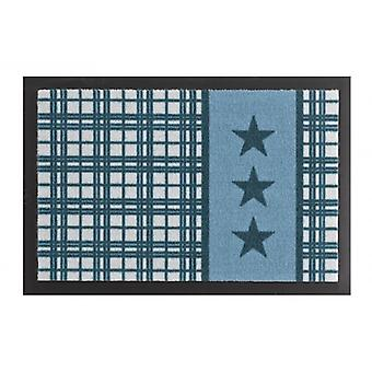 Doormat dirt trapping pad star Plaid blue 40 x 60 cm