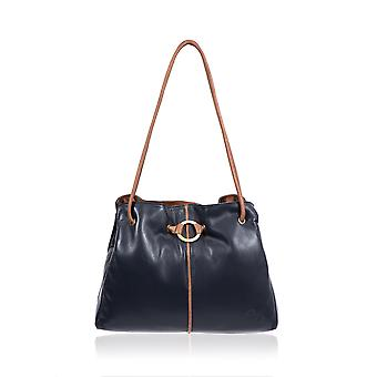 Gigi Ring Detail Leather Shoulder Bag in Navy