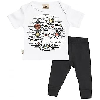 Spoilt Rotten Space Rocket Babygrow & Jersey Trousers Outfit Set