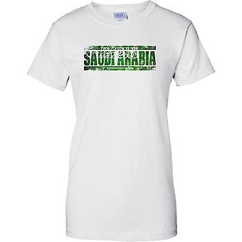 Saudi Arabia Grunge Country Name Flag Effect - Ladies T Shirt